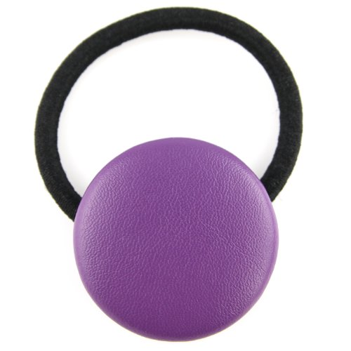 Purple - Pleather - Fabric Covered Button - Hair Elastic