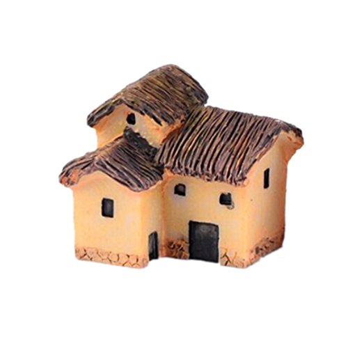 YRD TECH Mini Dollhouse Stone House Cottage Resin Decorations For Home And Garden DIY Mini Craft Cottage Landscape Decoration (B) (Disney Rear View Mirror Ornament)