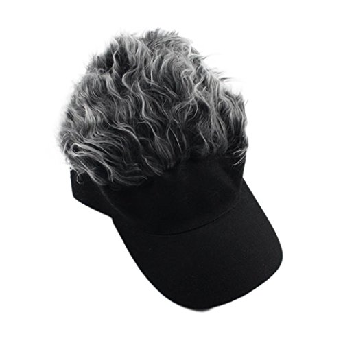 Raylans Adjustable Wig Peaked Baseball Hat with Loop Sun Visor Cap Grey -