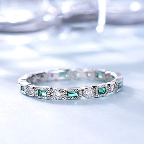 Lab Emerald CZ Diamond Wedding Band Engagement Ring Baguette Solid 14k White Gold Green Gemstone Birthstone Stacking Matching Jewelry Set Bridal Women Anniversary Rings Gift for Her