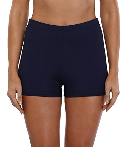 Initia Womens Boy Leg Short Swimsuit Bottom Beach Shorts Swimming Costume Trunks ()