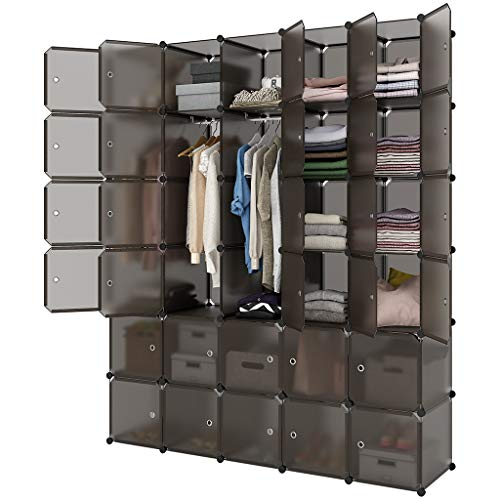LANGRIA 30-Cube Storage Organizer Large Brown DIY Stackable Easy Assemble Plastic Steel Frame Decorative Modular Clutter-Free Closet Yarn Stash Wardrobe for Homes, Living Rooms, and Gardens from LANGRIA