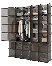 LANGRIA 20 Cube Organizer Stackable Plastic Cube Storage Shelves Design Multifunctional Modular Closet Cabinet with Hanging Rod for Clothes Shoes Toys Bedroom Living Room (Transparent Brown)