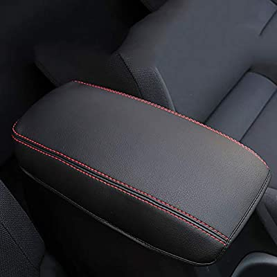 Bwen Car Central Console Armrest Cover, Black with Red Stitches Armrest Covers Saver for Toyota Corolla 2020: Automotive