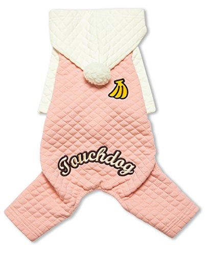touchdog Fashion Designer Full Body Quilted PomPom Pet Dog Thermal Hooded Sweater Jacket Coat, X-Small, Pink by touchdog