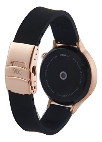 (SnuG watchbands Women's Moto 360 16mm replacement Watch Band for 2nd Gen Moto360 Quick Release with Rose Gold Deployment Buckle (BLACK with Rose Gold Buckle))