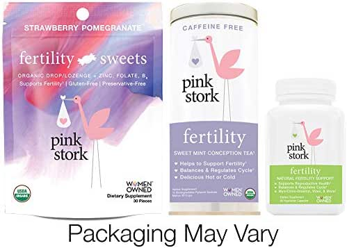 Pink Stork Fertility Bundle: Fertility Tea, Sweets & Support Supplements, for Hormone Balance & Cycle Regulation, Support Fertility Naturally Drug Free