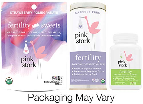Pink Stork Fertility Bundle: Fertility Tea, Sweets & Support Supplements, for Hormone Balance & Cycle Regulation, Support Fertility Naturally Drug Free (Pcos And Trying To Get Pregnant Naturally)