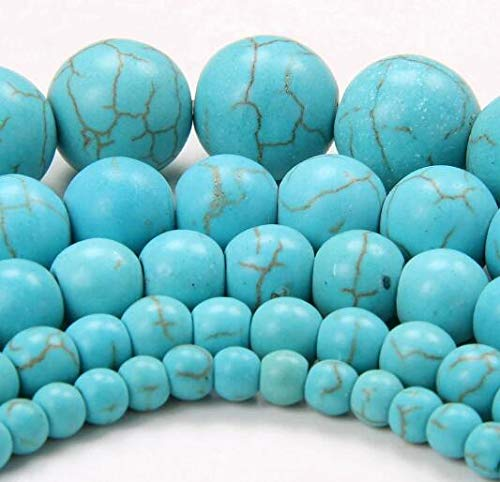 Pukido 4MM 6MM 8MM 10MM 12MM 14MM Bulk Natural Colorful Synthetic Turquoises Stone Round Spacer Loose Beads for Bracelet Jewelry Making - (Color: Blue, Item Diameter: 10mm 36pcs)