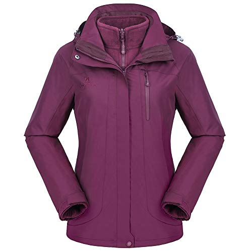 CAMEL CROWN Women's Waterproof Ski Jacket 3-in-1 Winter Coat Windbreaker Fleece Inner for Snow Rain Hiking Outdoor