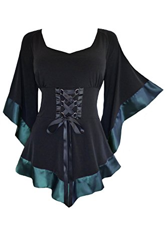 Dare to Wear Victorian Gothic Boho Women's Treasure Corset Top In Teal L ()