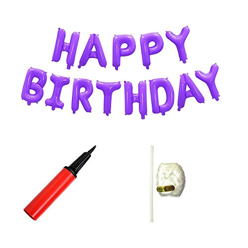 16 Inch Happy Birthday Aluminum Metallic Foil Letters Alphabet Balloons Banner with Pump for Birthday Party Decoration (Purple) -