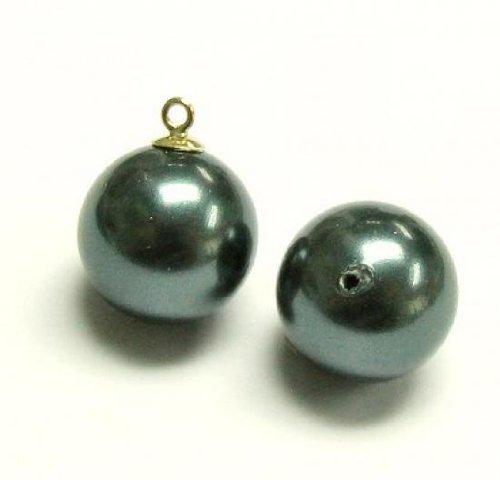 4 pcs Swarovski 5818 Half Drilled Round Crystal Pearls Tahitian-look 10mm / Findings / Crystallized (Tahitian Half Drilled Pearls)