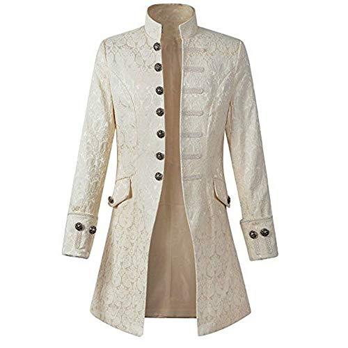 Sunhusing Men's Stand Collar Print Long-Sleeve Coat Fashion Retro Tuxedo Uniform Costume Party Outwear