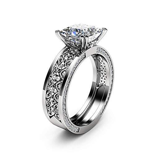 7mm Princess Moissanite Engagement Ring Forever Brilliant Moissanite Ring 14K White Gold Engagement Ring 7mm Diamond Designer Band