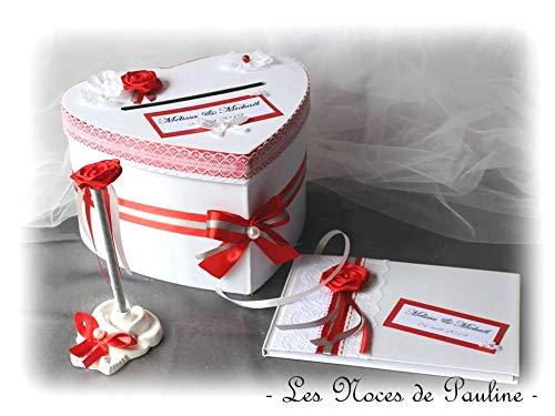 Ensemble Urne Livre D Or Stylo Mariage Rouge Gris Et Blanc