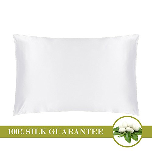 Price comparison product image MOMMESILK Mulberry Silk Pillowcase with Hidden Zipper White Standard 20 X 26- Inches