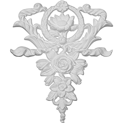 Ekena Millwork ONL10X12X01FL 10 5/8-Inch W by 12 5/8-Inch H by 3/4-Inch P Large Flower and Wreath Drop Onlay