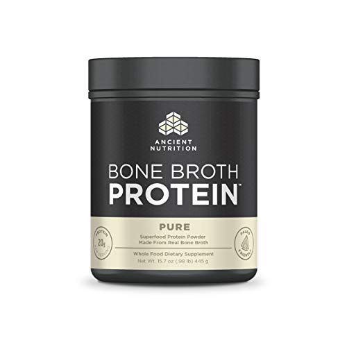 Ancient Nutrition Bone Broth Protein, Pure, Dairy Free, Gluten Free and Paleo Friendly, 20 Servings