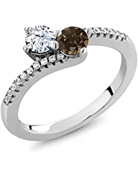 0.83 Ct Round White Topaz Brown Smoky Quartz Two Stone 925 Sterling Silver Bypass Ring