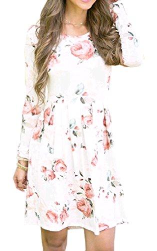 Coolred-femmes À La Mode Printemps Fleuri À Long Salon Housse Mince Une Robe Midi Ras Du Cou Ligne Blanche