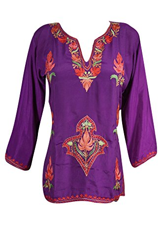 Mogul Womens Indian Tunic Top Kashmiri Floral Embroidered Silk Boho Ethnic Shirt Blouse (Chest : 42, Purple)