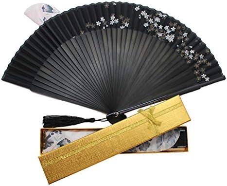 [スポンサー プロダクト]Boshiho 扇子 & 扇子袋 男性 女性 高級シルク 正絹 ダンス扇子 綺麗 手作り 花 花柄 メンズ レディース おしゃれ 和装小物 和風 上品 華やか 12月保証付き ブラック 黒