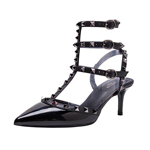 Patent Gun Femme Trim Black Studs Black Mules Pour Pan Kaitlyn Black wFq48Xg