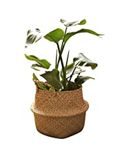 Mainstayae Handmade Woven Planter Round Shape Picnic Container Storage Basket Garden Flower Vase Plant Pots for Home Décor Vegetables Flowers Herbs Fruit Planting