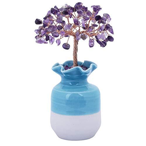 SUNYIK Natural Amethyst Money Tree, Blue Ceramic Vase Base Bonsai Sculpture Figurine 4.5 - Bonsai Figurine Tree Ceramic