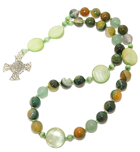 Anglican Prayer Beads of Banded Agate and Maltese Cross ()