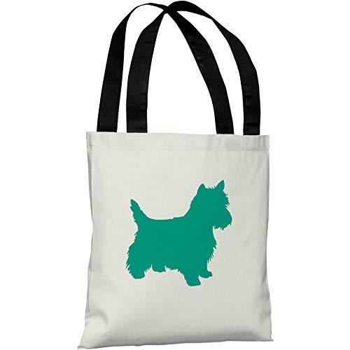 (OKSLO Westie silhouette 18x18 tote bag by onebellacasa)
