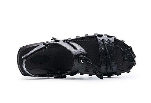 eu40 Tamaño Summer Velcro Black de 38 45 Zapatos Respirable Sandalias NSLXIE EU42 Diapositivas Black de Cordón Beach Genuino a Antideslizantes Hombre Toe Cuero 8vZBFFwxqC