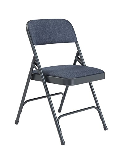NPS 2200 Series Deluxe Fabric Upholstered Double Hinge Premium Folding Chair, Imperial Blue Fabric/Char-Blue Frame (Pack of 4) ()