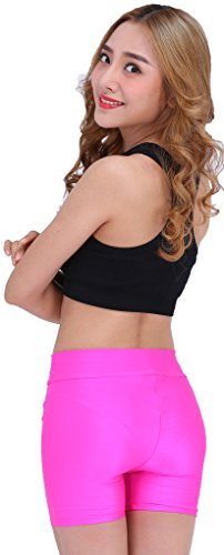 Hot Pink Spandex Shorts - Speerise Womens Nylon Spandex Elastic Waist Stretch Leggings Boy Shorts, XL, Black