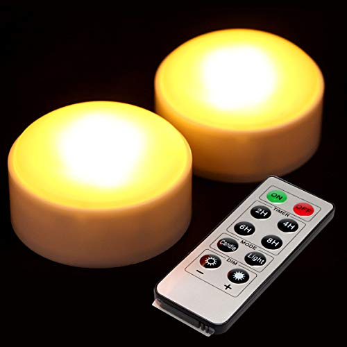 2 Pack LED Pumpkin Lights with Remote and Timer,Battery Operated Bright Flickering Flameless Candles for Pumpkin Decor, Jack-O-Lantern Halloween Party Decorations,White -