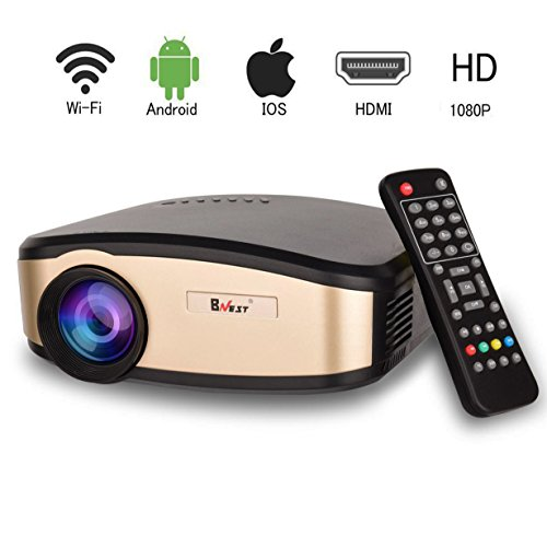 Projector, BNEST Wifi LCD Video Projector, Home Theater, Portable Mini Video Projector with Stereo Speaker, Support 1080P HDMI, USB, SD Card for Home TV, Laptop Gaming