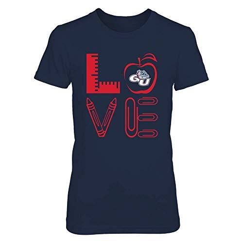 (FanPrint Official Sports Apparel Women's Basic Cotton T-Shirt Gonzaga Bulldogs Teacher - Stacked Love - Teacher Things, Size L, Navy)