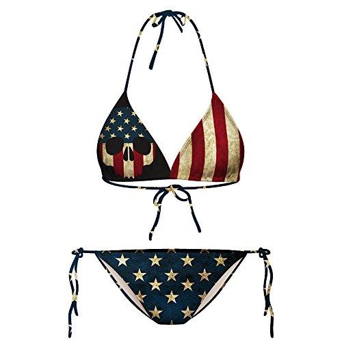 Growing Wild American Flag Bathing Suit Women Skull Bikini Patriotic Swimsuits ()