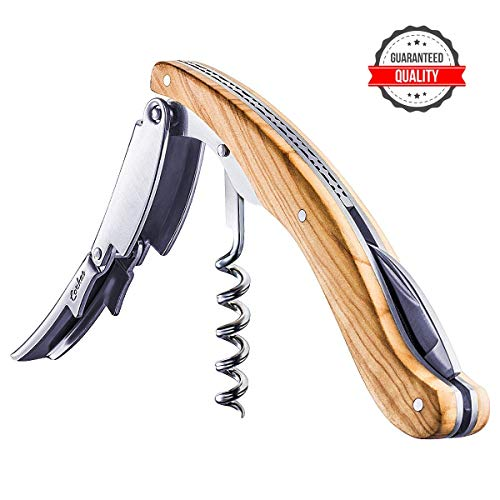 CORKAS Executive Corkscrew,High-end Wine Opener with Full Olivewood Handle,Double Worm Corkscrew,Serrated Foil Cutter,Large-sized Design,Bigger,Heavier and Professional(5.5×1.5×0.7 inch/6.6 oz)