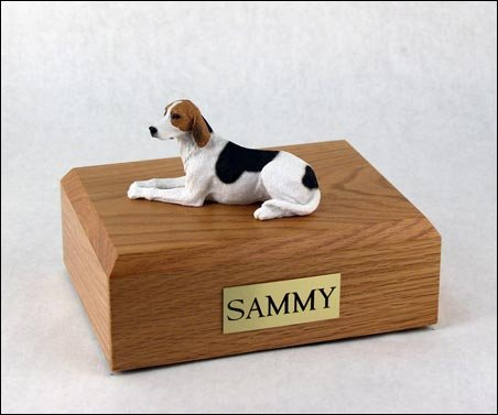 GENUINE North American Hardwood and American Foxhound Figurine Urn Large