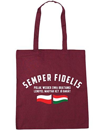 HippoWarehouse Semper fidelis Polak Wegier DWA bratanki (siempre fiel polaco húngaro hermanos) bolso de compras bolsa de gimnasio playa 42cm x38cm, 10litros granate