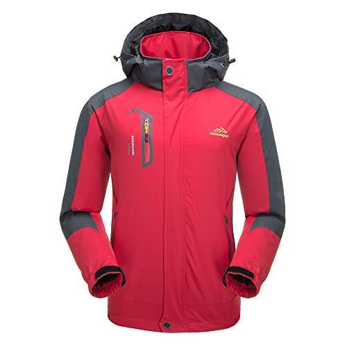Decdeal Lixada Waterproof Jacket Windproof Raincoat Sportswear Outdoor Hiking Traveling Cycling Sports Detachable Hooded Coat for Men