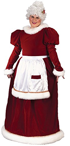 Fun World Costumes Women's Plus-Size Plus Size Adult Velvet Mrs. Santa Suit, Red/White, X-Large
