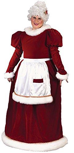 Fun World Costumes Women's Plus-Size Plus Size Adult Velvet Mrs. Santa Suit, Red/White, X-Large (Velvet Santa Suit Costume)