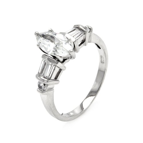 Marquise Center Baguette Round Clear Cubic Zirconia Bridal Ring Rhodium Plated Sterling Silver Size 5
