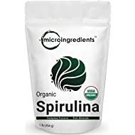 Micro Ingredients Pure Organic Spirulina Powder,1 Pound, Rich in Antioxidant, Minerals, Fatty Acids, Fiber and Protein, No Irradiated, No Contaminated, No GMOs and Vegan Friendly
