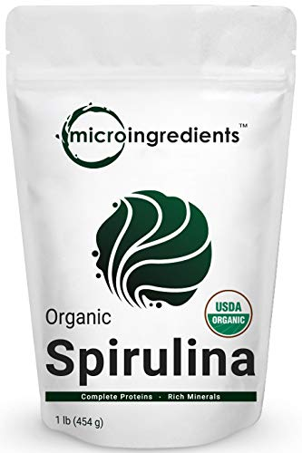 Micro Ingredients Pure Organic Spirulina Powder,1 Pound, Best Superfoods for Antioxidant, Minerals, Fatty Acids, Fiber and Protein, Non-Irradiated, Non-Contaminated, Non-GMO and Vegan Friendly