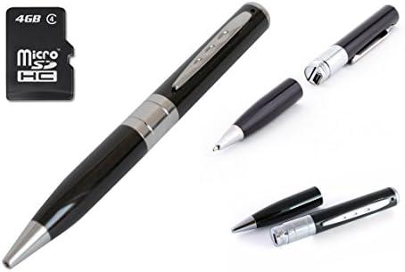 LKM Security® Bolígrafo cámara oculta espía con ranura microSD hasta 32 GB resolución vídeo 1280 x 960
