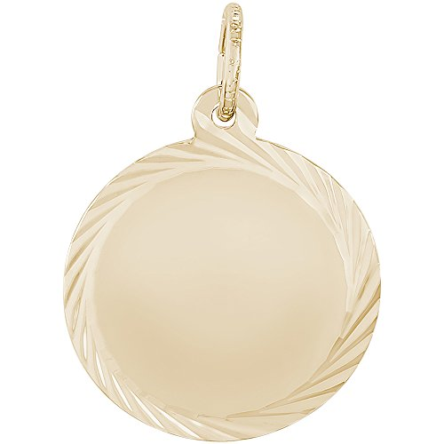 Rembrandt Charms 10K Yellow Gold Petite Faceted Disc Charm (0.69 x 0.69 inches) by Rembrandt Charms